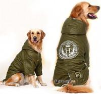 oblečenie pre veľkého psa, zimná zelená bunda pre veľkých psov