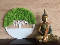 Strom na stenu z machu - nástenné biele dizajnové dekorácie